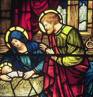 Nativity window Mary Joseph Jesus close-up by Powell